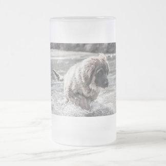 Taza De Cristal Esmerilado Leonberger congelado