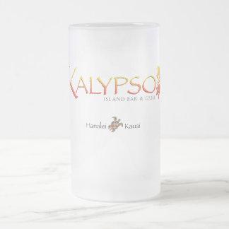 Taza De Cristal Esmerilado Logotipo colorido de Kalypso con la tortuga de mar
