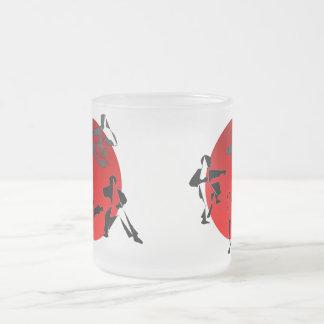 Taza De Cristal Esmerilado luna del rojo de Japón de los artes marciales del