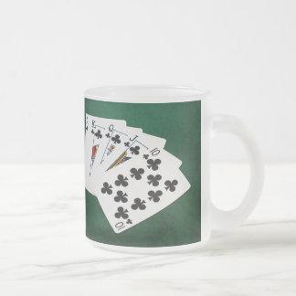 Taza De Cristal Esmerilado Manos de póker - escalera real - juego de los