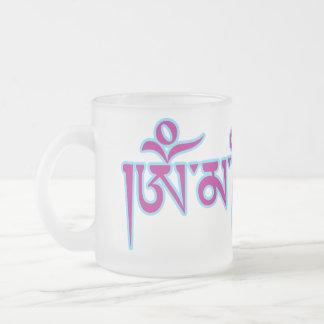 Taza De Cristal Esmerilado Mantra tibetano del budista de la escritura del