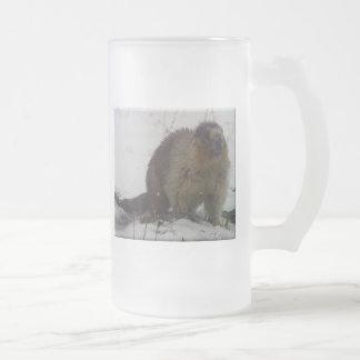 Taza De Cristal Esmerilado Marmota del invierno