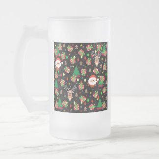 Taza De Cristal Esmerilado Modelo de Santa y de Rudolph