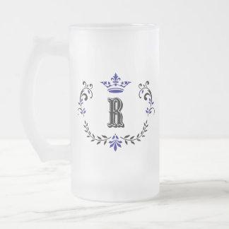 Taza De Cristal Esmerilado Monograma 'R de la guirnalda de la corona