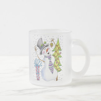 Taza De Cristal Esmerilado Muñeco de nieve
