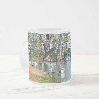 Taza De Cristal Esmerilado Oasis Berri Riverland Australia del pelícano,