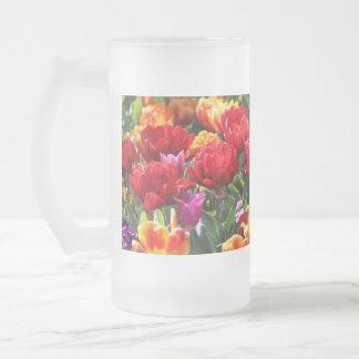 Taza De Cristal Esmerilado Ondas florales del carmesí de Falln