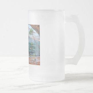Taza De Cristal Esmerilado Pintura de Bell del chapucero de la ensenada del
