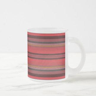 Taza De Cristal Esmerilado Rayas - horizonte rojo