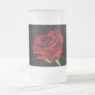 Taza De Cristal Esmerilado Rosa rojo hermoso
