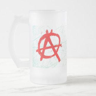 Taza De Cristal Esmerilado Símbolo rojo sucio de la anarquía