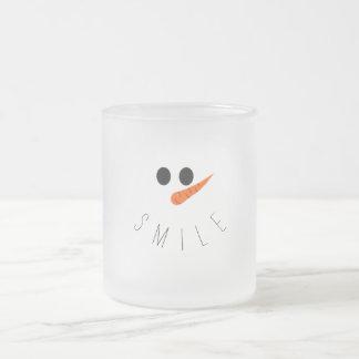 Taza De Cristal Esmerilado ¡Sonrisa! Muñeco de nieve