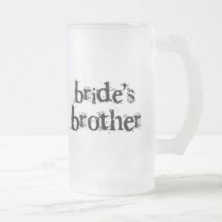 Taza De Cristal Esmerilado Texto negro de Brother de la novia