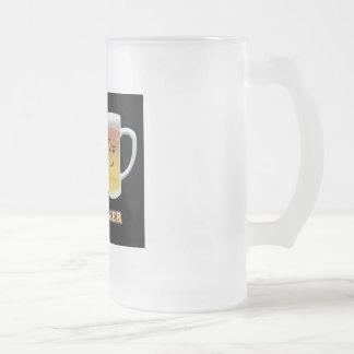 Taza De Cristal Esmerilado Tocino + La cerveza está hasta algo