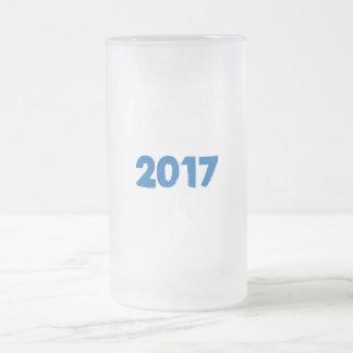 Taza De Cristal Esmerilado U 2017 puede cambiar ESTILO del TEXTO y COLOR de