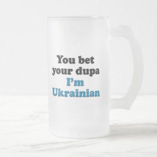 Taza De Cristal Esmerilado Usted apuesta su dupa que soy ucraniano