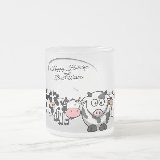 Taza De Cristal Esmerilado Vacas felices del día de fiesta del navidad lindo
