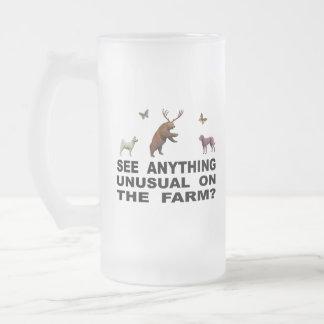 Taza De Cristal Esmerilado ¿Vea cualquier cosa inusual en la granja?