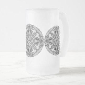 Taza De Cristal Esmerilado Vidrio esmerilado de seda de plata de la mandala