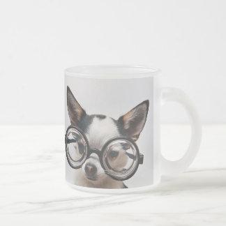Taza De Cristal Esmerilado Vidrios de la chihuahua - lentes del perro