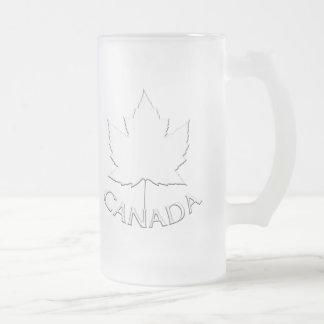 Taza De Cristal Esmerilado Vidrios del recuerdo de la hoja de arce de Canadá