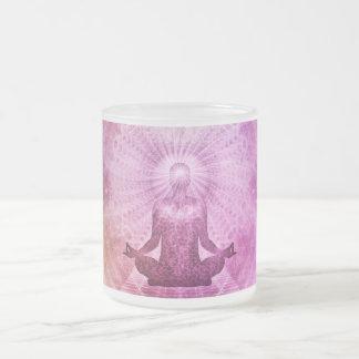 Taza De Cristal Esmerilado Zen espiritual de la meditación de la yoga