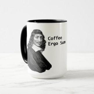 Taza De Decartes del café suma ergo