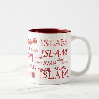 Taza de diferentes tipos de caracteres del Islam