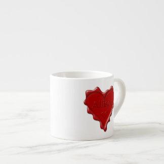 Taza De Espresso Allison. Sello rojo de la cera del corazón con