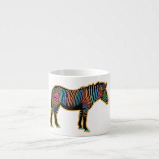 Taza De Espresso Cebra colorida del arco iris