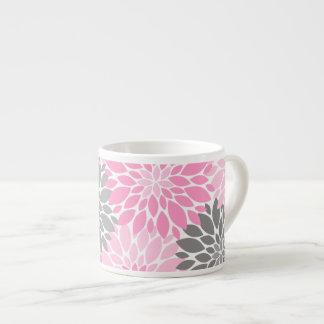 Taza De Espresso Estampado de flores rosado y gris de los