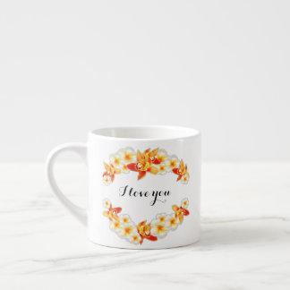 Taza De Espresso Flores de la orquídea y del Plumeria, elegantes te