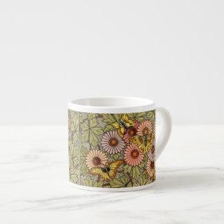 Taza De Espresso Mariposas y flores
