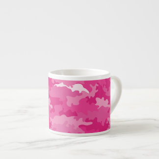 Taza De Espresso Modelo femenino romántico del rosa del camuflaje