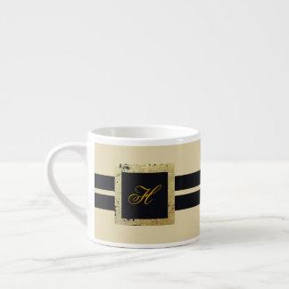 Taza De Espresso Monograma negro y del moreno