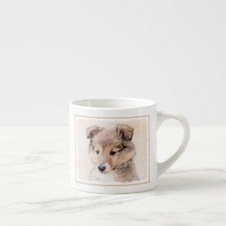 Taza De Espresso Perrito del perro pastor de Shetland que pinta