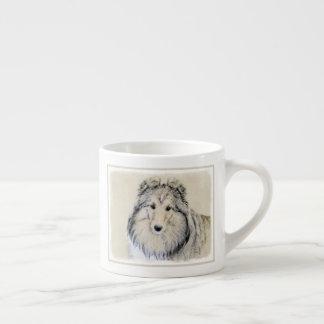Taza De Espresso Pintura del perro pastor de Shetland - arte
