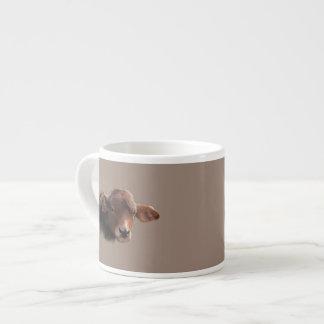 Taza De Espresso Retrato pelirrojo de la vaca de Brown