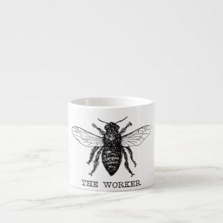 Taza De Espresso Vintage blanco y negro de la abeja de trabajador