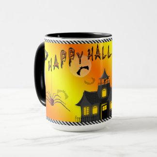 Taza de Halloween - palos, casa encantada