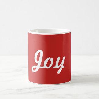 Taza de la alegría en rojo y blanco