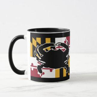 Taza de la bandera/del cangrejo de Maryland