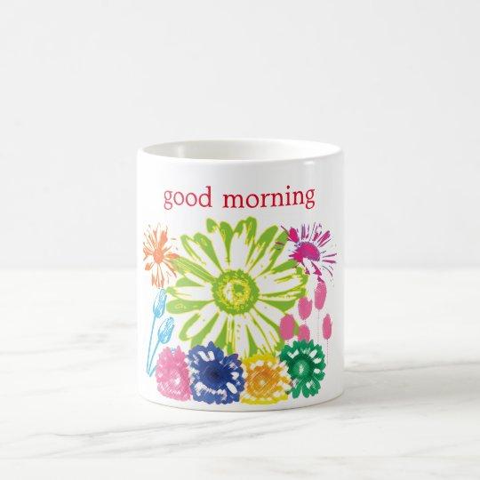 Taza de la buena mañana del jardín de flores