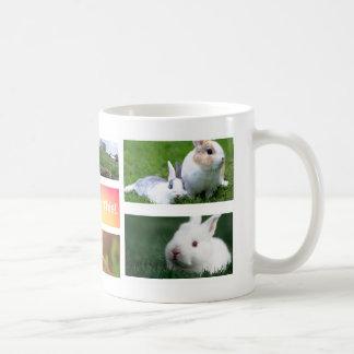 Taza de la foto del collage del conejo