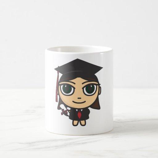 Taza de la graduación del personaje de dibujos ani