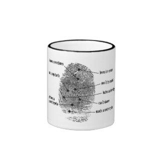 taza de la huella dactilar