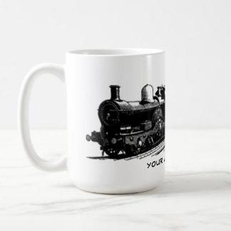 taza de la locomotora de vapor del tren del
