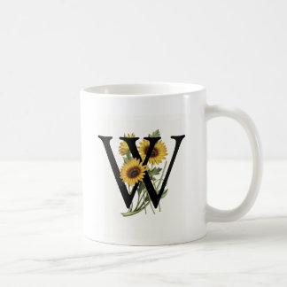 Taza de la margarita W del monograma