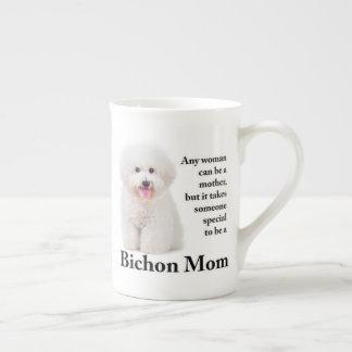 Taza de la porcelana de hueso de la mamá de Bichon