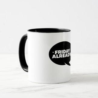 Taza De las burbujas de viernes blanco negro ya -